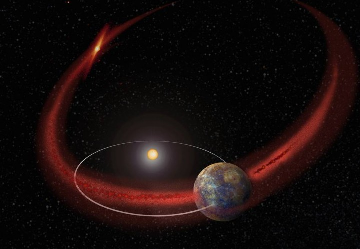 Mercury appears to undergo a recurring meteoroid shower when its orbit crosses the debris trail left by comet Encke. (Artist's concept.) Credits: NASA/Goddard