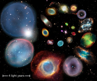 A collage showing 22 individual planetary nebulae artistically arranged in approximate order of physical size. The scale bar represents 4 light years. Each nebula's size is calculated from the authors' new distance scale, which is applicable to all nebulae across all shapes, sizes and brightnesses. The very largest planetary nebula currently known is nearly 20 light years in diameter, and would cover the entire image at this scale. Credit: ESA/Hubble & NASA, ESO, Ivan Bojicic, David Frew, Quentin Parker