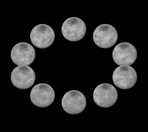 On approach to the Pluto system in July 2015, the cameras on NASA's New Horizons spacecraft captured images of the largest of Pluto's five moons, Charon, rotating over the course of a full day. The best currently available images of each side of Charon taken during approach have been combined to create this view of a full rotation of the moon. Credits: NASA/JHUAPL/SwRI