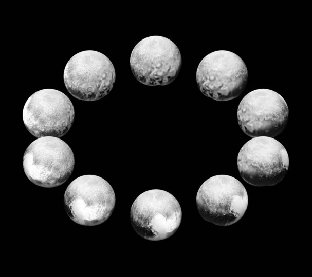 "On approach in July 2015, the cameras on NASA's New Horizons spacecraft captured Pluto rotating over the course of a full ""Pluto day."" The best available images of each side of Pluto taken during approach have been combined to create this view of a full rotation. Credits: NASA/JHUAPL/SwRI"