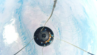 An UP Aerospace camera captures the separation in space of the Maraia capsule from Nose Fairing launch vehicle. Credits: Contributed Photo / UP Aerospace