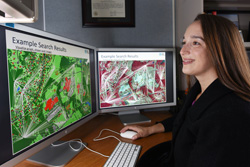 Sandia National Laboratories manager Kristina Czuchlewski says Pattern Analytics to Support High-Performance Exploitation and Reasoning, known as PANTHER, has developed software that can represent remote sensor images, couple them with additional information and present them in a searchable form. (Photo by Randy Montoya)
