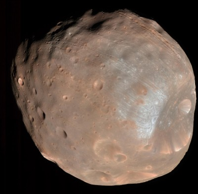 Phobos is a lumpy, fractured moon that will be torn apart by Mars' gravity when it gets too close to the planet. NASA image.