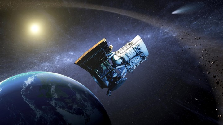This artist's concept shows the Wide-field Infrared Survey Explorer, or WISE spacecraft, in its orbit around Earth. Image credit: NASA/JPL-Caltech