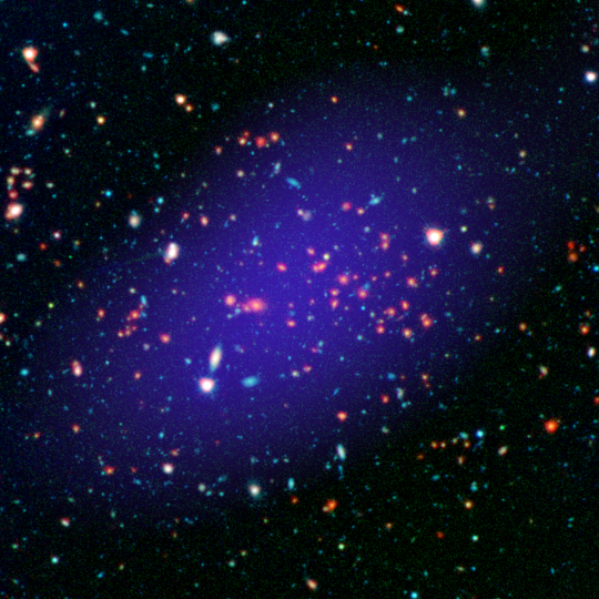 The galaxy cluster called MOO J1142+1527 can be seen here as it existed when light left it 8.5 billion years ago. The red galaxies at the center of the image make up the heart of the galaxy cluster. Credits: NASA/JPL-Caltech/Gemini/CARMA