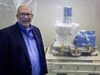 """Michael Cisewski, project manager for SAGE III, is proud of the work his team did to the instrument ready to fly. """"Our team worked two shifts per day, Saturdays, and an occasional Sunday to maintain our schedule and ensure we would catch our ride to the ISS on Space X,"""" he said. Credits: NASA/David C. Bowman"""