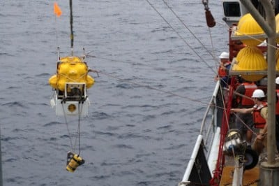 An ocean bottom seismometer being retrieved after spending 10 months on the floor of the Pacific Ocean to map the mantle 100 miles underneath the Juan de Fuca plate.