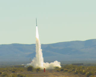 An UP Aerospace rocket launched experiments to flight test for NASA's Flight Opportunities Program from Spaceport America in New Mexico. Credits: Contributed Photo / Spaceport America