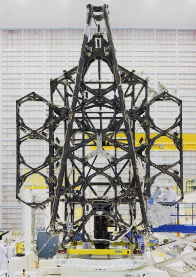 "Engineers successfully completed two deployments for the James Webb Space Telescope's ""wings"" or side portions of the backplane structure that fold up. Credits: NASA"
