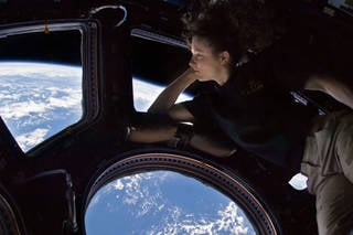 NASA astronaut Tracy Caldwell Dyson, an Expedition 24 flight engineer in 2010, took a moment during her space station mission to enjoy an unmatched view of home through a window in the Cupola of the International Space Station, the brilliant blue and white part of Earth glowing against the blackness of space. Credits: NASA