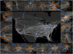 This award-winning image by Sandia researcher Andy Wilson shows PANTHER's geometric and temporal trajectory analyses of air traffic patterns from 43,000 flights over the continental United States on April 4, 2014. In this image, which is far more intricate than what we see from the ground, white lines represent level flight, orange lines indicate ascent and blue lines show descent. Around the edges are smaller views of most of the busiest airports to show the wide variety of traffic patterns. The image was runner-up in an international contest sponsored by IEEE Visualization and Graphics Technical Committee in 2014.