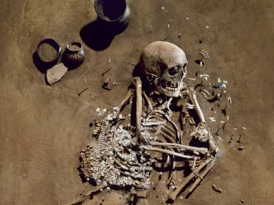 Grave of an adult male from Salzmünde Culture (Saale, Sachsen-Anhalt) approx. 5400-5100 BC. His genetic data has been incorporated into the study. Photo credit: Juraj Lipták, LDA Sachsen-Anhalt