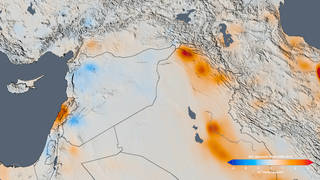 The trend map of the Middle East shows the change in nitrogen dioxide concentrations from 2005 to 2014. The decreases in Syria are tied to the economic disruption caused by their civil war. Credits: NASA