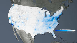 The trend map of the United States shows the large decreases in nitrogen dioxide concentrations tied to environmental regulations from 2005 to 2014. Credits: NASA
