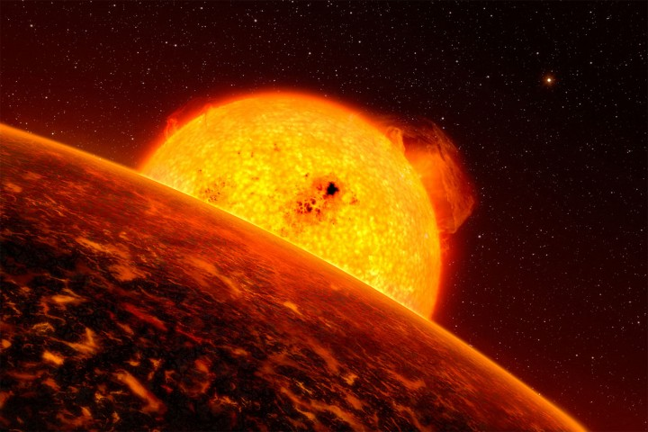 Molten exoplanet CoRoT-7b is a good analog for the Star Wars sizzling lava planet Mustafar. While you won't see any lightsaber duels on CoRoT-7b, the planet's temperature of 3,600 degrees Fahrenheit (1,982 Celsius) isn't far off from the fictional magma mining station.Credits: ESO/L. Calcada