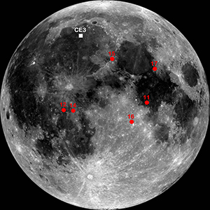 Chang'e-3 landing site is indicated with a white square in this lunar map, a mosaic made with the Lunar Reconnaissance Orbiter's Wide Angle Camera. The landing sites of the Apollo missions are in red. Image credit: NASA/GSFC/ASU
