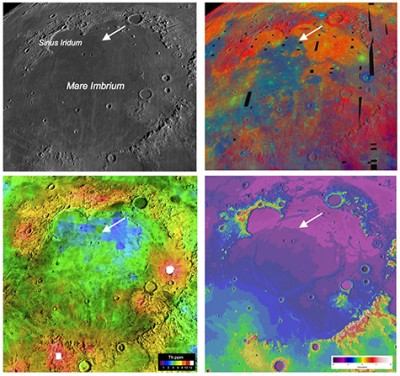 Four views of the Mare Imbrium basin and the Chang'e-3 landing site demonstrate how different the Moon looks to different types of remote sensing, underscoring the need for ground truth to calibrate the orbital observations. Image credit: NASA/LPI