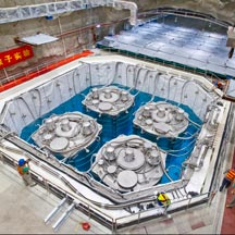 Daya Bay Neutrino Facility in China - construction documentation 08/27- 08/31, 2012. This is final phase construction in Hall 3 with the filling of water into the pool holding the 4 antineutrino detectors (AD). The Daya Bay Neutrino Experiment is a neutrino-oscillation experiment designed to measure the mixing angle q13Â using anti-neutrinos produced by the reactors of the Daya Bay Nuclear Power Plant (NPP) and the Ling Ao NPP in mainland China.