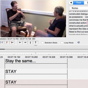 A sample of the program Fisher and Tamminga are using to annotate the interviews they conduct