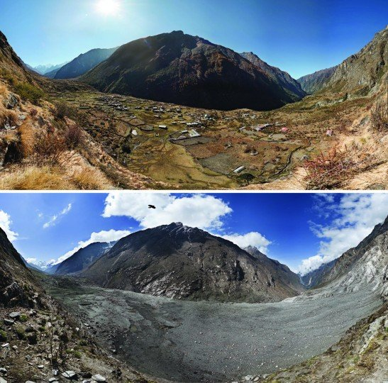 Before-and-after photographs of Nepal's Langtang Valley, showing the near-complete destruction of Langtang village due to a massive landslide caused by the 2015 Gorkha earthquake. Photos from 2012 (pre-quake) and 2015 (post-quake). Credit: David Breahshears/GlacierWorks