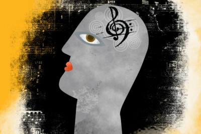 """""""One of the core debates surrounding music is to what extent it has dedicated mechanisms in the brain and to what extent it piggybacks off of mechanisms that primarily serve other functions,"""" Josh McDermott says. Illustration credit: Christine Daniloff/MIT"""