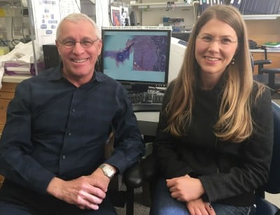 Dr. Owen Witte and Claire Faltermeier. Credit: UCLA Broad Stem Cell Research Center