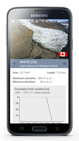 The app will allow users to locate closest glacier and to get all necessary information about it. It will also show how glaciers melted during time and should raise awareness about climate change problems. Image credit: mediadesk.uzh.ch