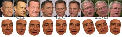 UW researchers have reconstructed 3-D models of celebrities such as Tom Hanks from large Internet photo collections. The models can be controlled by photos or videos of another person. Image credit: University of Washington