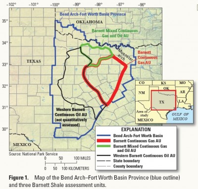 A map showing the Barnett Shale assessment area in east Texas