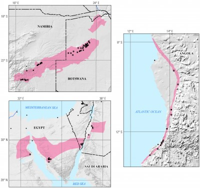 Figure showing the top three ranked areas. Clockwise from the top: Northwest Botswana Rift, Benguela and Cuanza Basins, and the Egypt–Israel–Jordan Rift