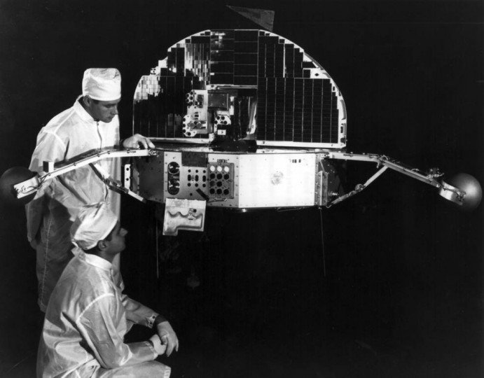 chnicians prepare one of the Orbiting Solar Observatory spacecraft for launch in early 1967. The mission carried nine experiments to study the sun and its influence on Earth's atmosphere. Credits: NASA