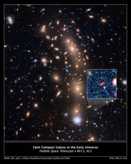 This is a Hubble Space Telescope view of a very massive cluster of galaxies, MACS J0416.1-2403, located roughly 4 billion light-years away and weighing as much as a million billion suns. The inset is an image of an extremely faint and distant galaxy that existed only 400 million years after the big bang. Hubble captured it because the gravitational lens makes the galaxy appear 20 times brighter than normal. Credits: NASA, ESA, and L. Infante (Pontificia Universidad Catolica de Chile)