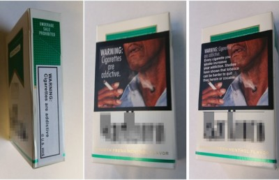 These are the warning labels that participants in the study saw on every pack of cigarettes that they smoked.