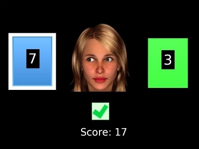 Experimental Paradigm: Computational modeling was applied to the behavioural data of a reward-based learning task, which requires the integration of non-social and social cues. In the image a screen shot of the task depicting the cards from which the participants had to choose and the face providing a gaze cue is shown. Credit: MPI for Psychiatry | Schilbach, 2015