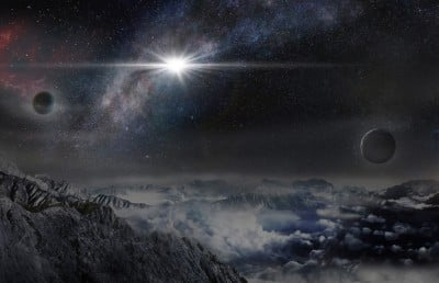 An artist's impression of the record-breakingly powerful, superluminous supernova ASASSN-15lh as it would appear from an exoplanet located about 10,000 light years away in the host galaxy of the supernova. Image credit: Beijing Planetarium / Jin Ma
