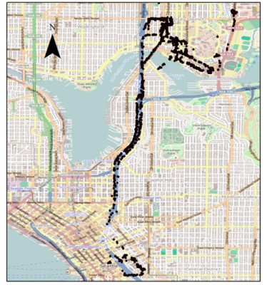 This map shows Bluetooth detections recorded on a single shuttle bus during the testing window last spring. Image credit: University of Washington