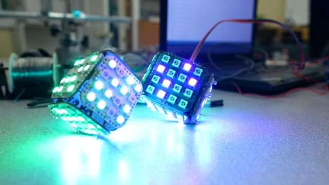 Sneak peek at the second kit: RGB LED cube with an integrated 9DOF IMU (accelerometer, gyroscope, magnetometer)