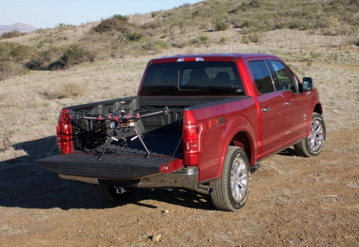F150 would become a base for the drone. This tandem is going to be very useful for monitoring locations hard to reach for the on-land vehicles. Image credit: media.ford.com.