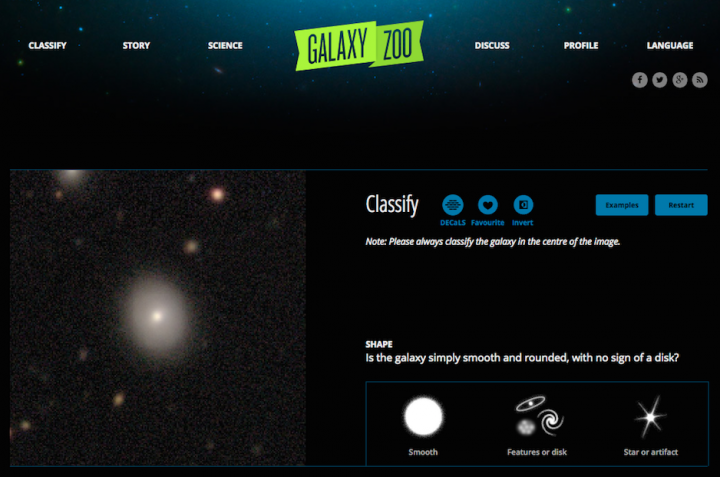 A view of the Galaxy Zoo website. The site offers a citizen-science project that helps to characterize observed and simulated galaxies. Image credit: www.galaxyzoo.org