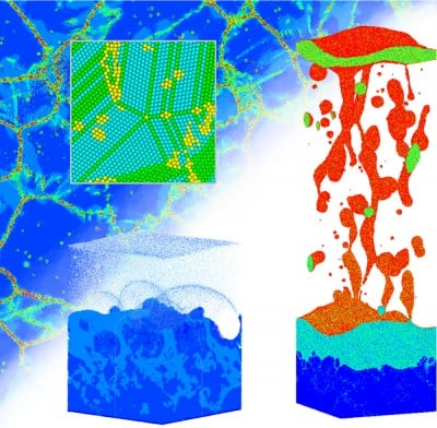 An illustration of some of the results of large-scale atomistic computer simulations of laser-induced structural modification of silver targets irradiated by 200 femtosecond (one quadrillionth of a second) laser pulses. The simulations make predictions regarding the surface and explain the experimental observation of surface swelling. The experiments were done in the group of Peter Balling at Aarhus University, Denmark. Image credit: Leonid Zhigilei, the University of Virginia.