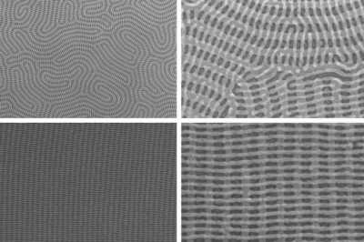 On the top row are two images of a nanomesh bilayer of PDMS cylinders in which the top layer is perpendicular to the complex orientation of the bottom layer. The bottom images show well-ordered nanomesh patterns of PDMS cylinders. The images on the right show zoomed-in views of the images on the left. Image courtesy of the researchers