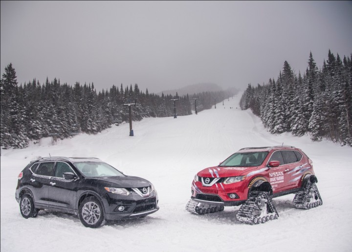 Normal Rogue crossover and the Rogue Warrior concept. Only minor adjustments had to be made fitting the snow tracks, but it increased off-road performance of the car drastically. Image credit: nissannews.com.