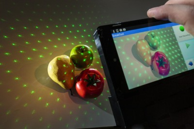 NutriRay3D combines laser mapping technology with a smartphone app to estimate the calories and other nutritional content on a plate of food. Image credit: University of Washington