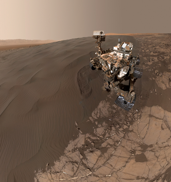 """This Jan. 19, 2016, self-portrait of NASA's Curiosity Mars rover shows the vehicle at """"Namib Dune,"""" where the rover's activities included scuffing into the dune with a wheel and scooping samples of sand for laboratory analysis. Credit: NASA/JPL-Caltech/MSSS"""