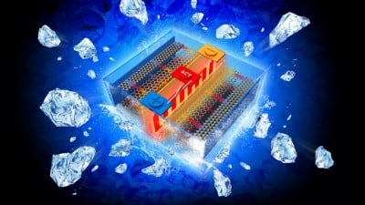 An all-climate battery that rapidly self-heats battery materials and electrochemical interfaces in cold environments. Image credit: Chao-Yang Wang / Penn State