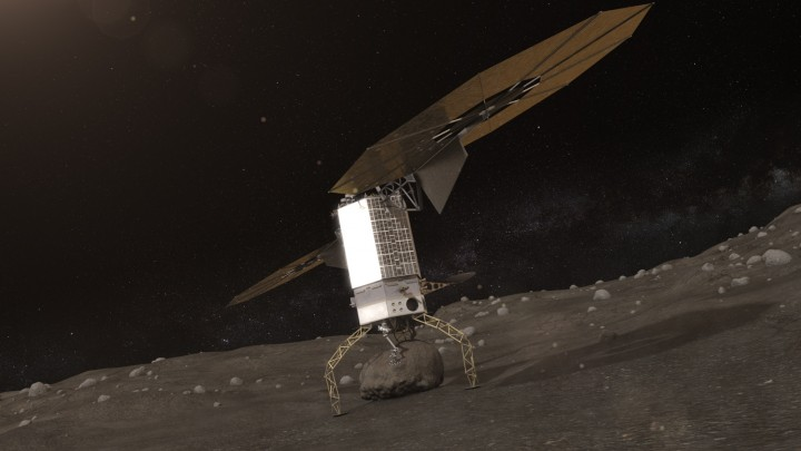 Artists concept of NASA's Asteroid Redirect Robotic Mission capturing an asteroid boulder before redirecting it to a astronaut-accessible orbit around Earth's moon. Image Credit: NASA