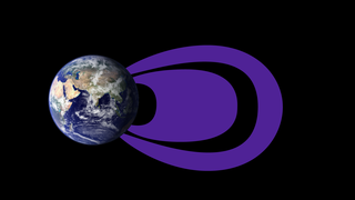 (Illustration) The radiation belts look much different at the lowest electron energy levels measured, about 0.1 MeV. Here, the inner belt is much larger than in the traditional picture, expanding into the region that has long been considered part of the empty slot region. The outer belt is diminished and doesn't expand as far in these lower electron energies. Credits: NASA Goddard/Duberstein