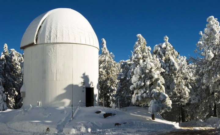 The Catalina Sky Survey's Schmidt-Cassegrain telescope discovered Comet Catalina (C/2013 US10) on Halloween 2013. The telescope is located on Mt. Bigelow in the Catalina Mountains, just north of Tucson. Credits: Catalina Sky Survey