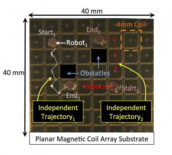 This image shows how two microbots can be independently controlled when operating within a group, an advance aimed at using the tiny machines for applications such as advanced manufacturing and biomedical research. (Purdue University image/David Cappelleri)