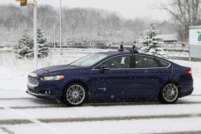 Autonomous vehicle with LiDAR sensors on top. Image credit: Ford